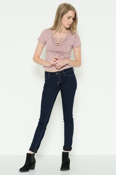 Poppy Lace Up Top - Blush