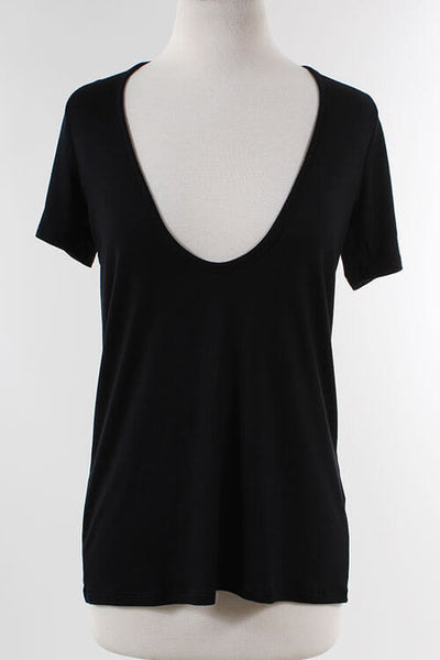 Serene Plunging V-Neck Tee - Black