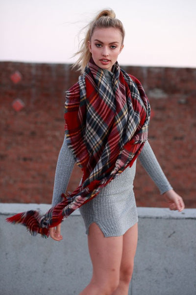 So Chill Plaid Scarf - Red