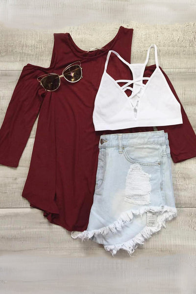 Loose Cold Shoulder Top - Burgundy
