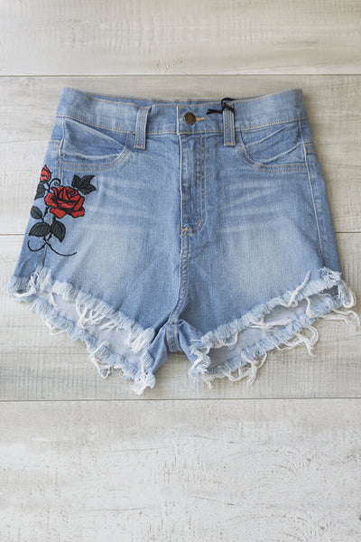 Rose Distressed Highwaist Shorts - Denim
