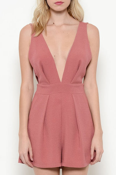 So Confident Plunging V-Neck Romper - Mauve