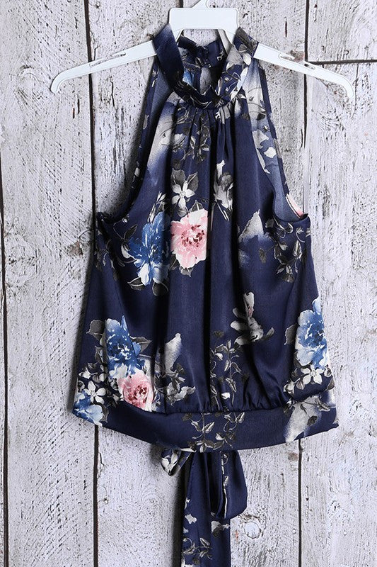 Ori Floral Flowy Crop Top - Navy