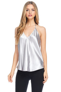 Satin V Neck Top - Silver