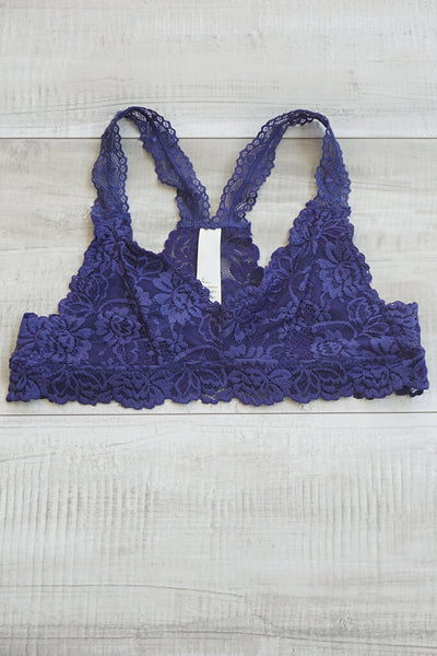 Seraphina Racerback Lace Bralette - Midnight Blue
