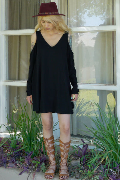 Mila Cold Shoulder Dress - Black
