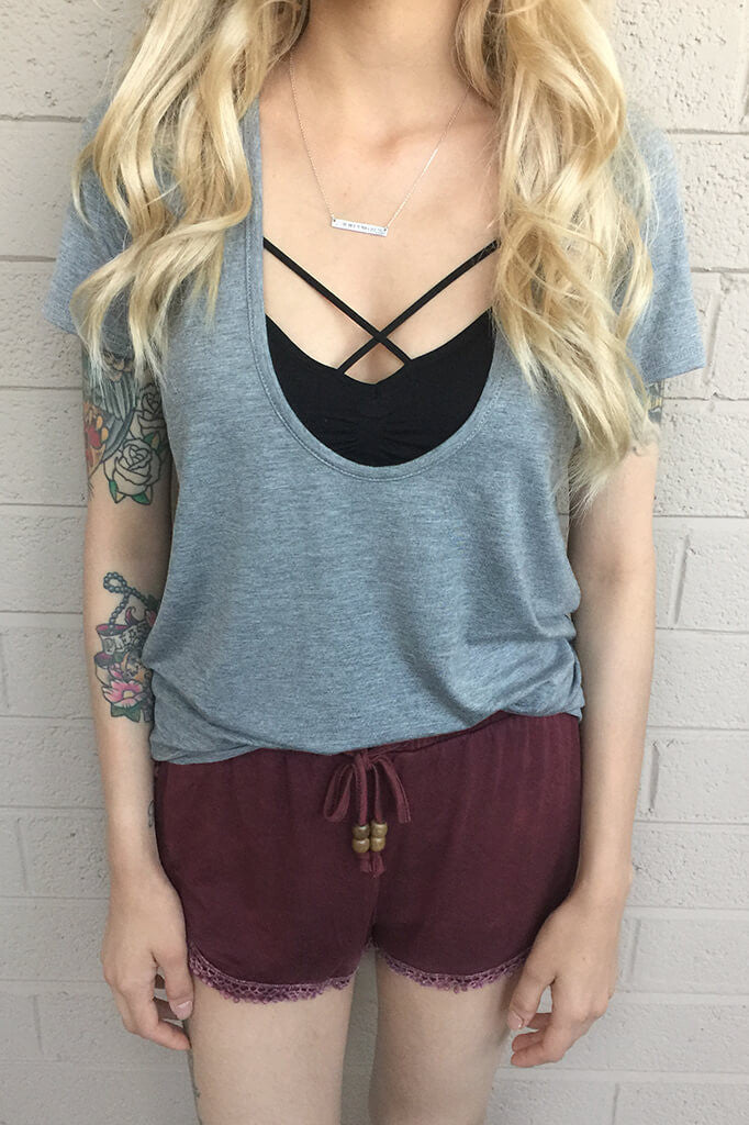 Serene Plunging V-Neck Tee - Gray