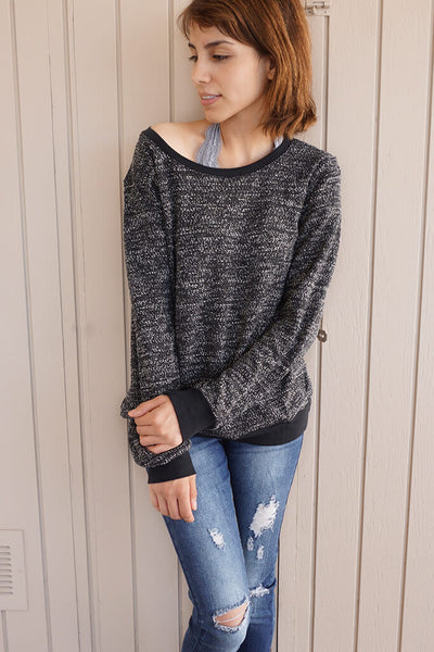 Speckled Knit Sweater - Black