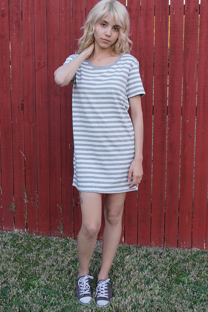 Stripe Oversized Shirt Dress - Gray