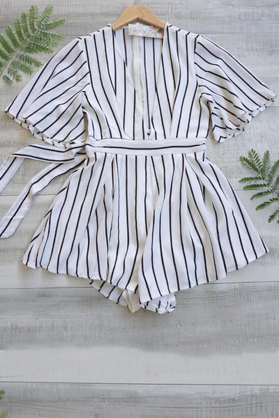 Sea Breeze Plunging Neckline Romper - White