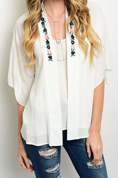 Desiree Floral Embroidered Kimono - White