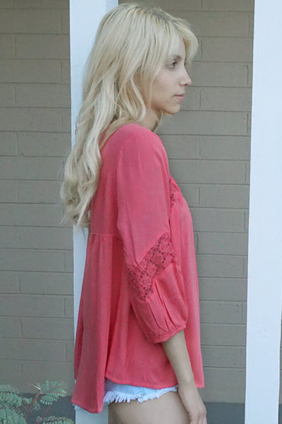 Sweet Kiss Flow Top - Coral