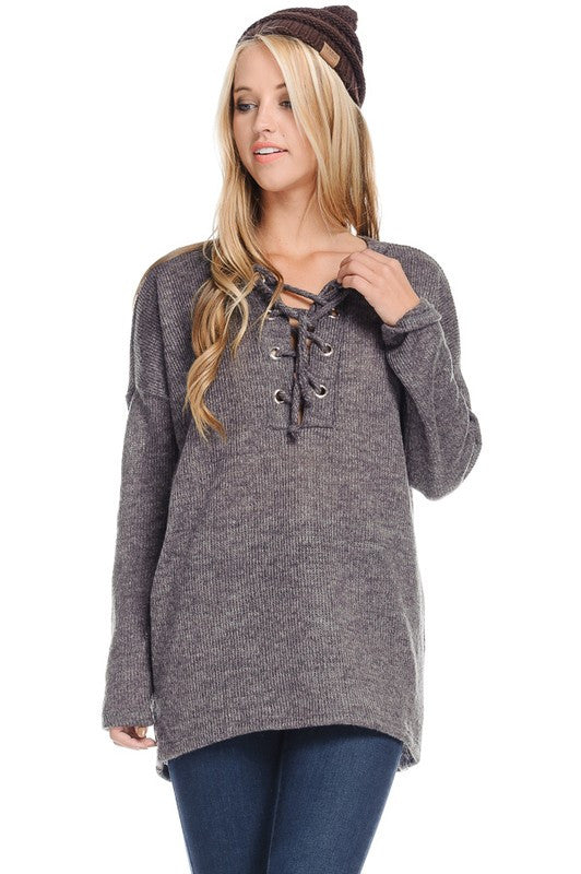 Over My Mind Lace Up Sweater - Charcoal