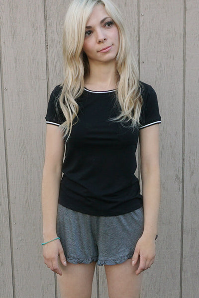 Tammy Ringer Pocket Tee - Black