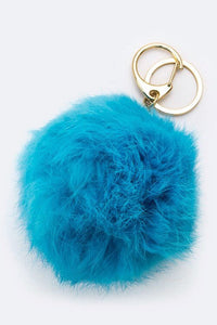 Plush Fur Ball Keychain - Turquoise
