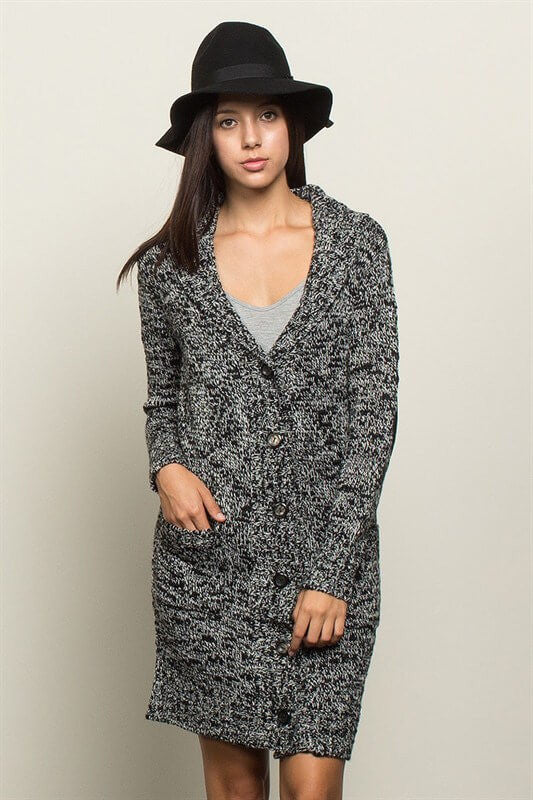 Cozy Elbow Patch Cardigan - Charcoal