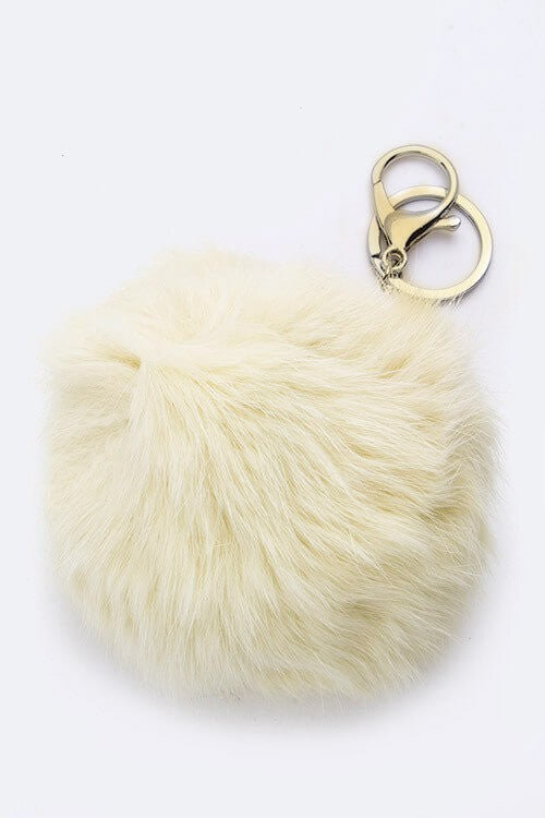 Plush Fur Ball Keychain - White