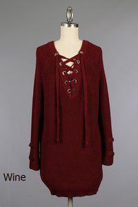 In To You Chunky Lace Up Sweater - Wine