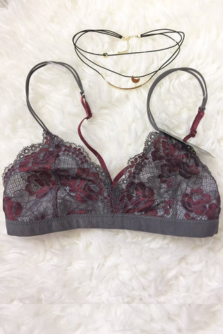 Anabelle Lace Triangle Bralette - Gray