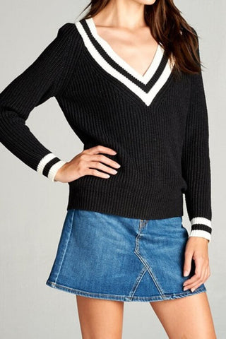 Kaleigh V Neck Sweater - Black