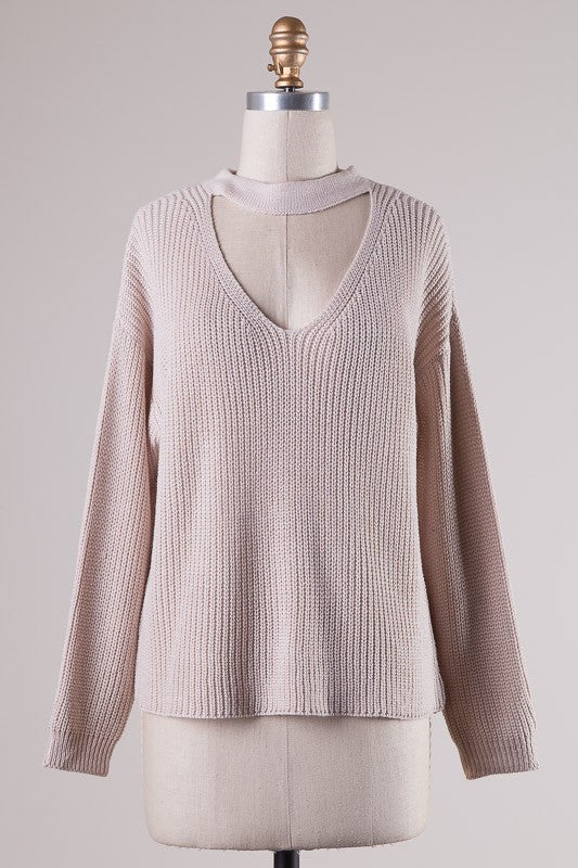 Knit Choker Sweater - Blush