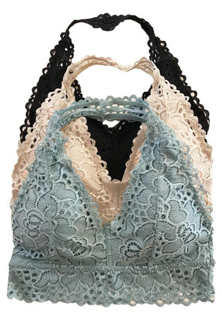 Addy Lace Halter Bralette - Stone Blue