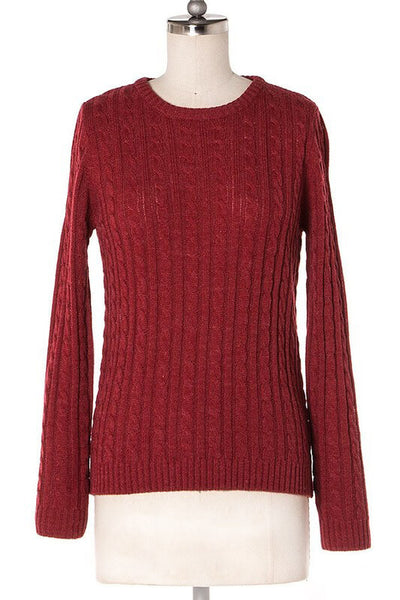 Jessa Cable Knit sweater - Burgundy