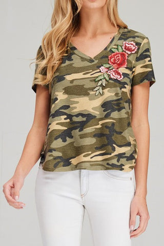 Camouflage Floral Top - Olive
