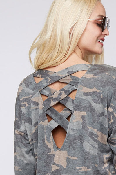 Camo Long Sleeve Top - Olive