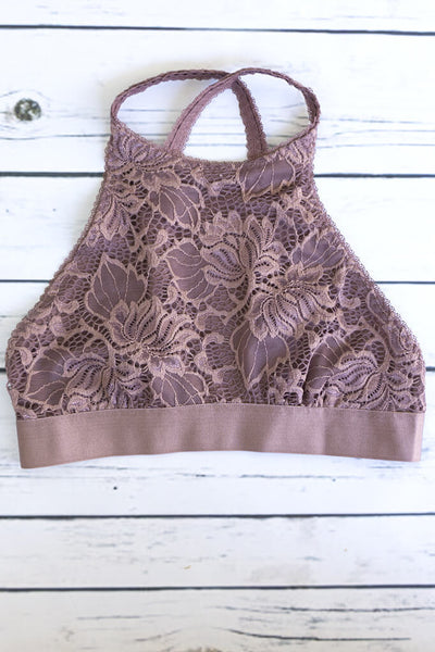 High neck halter bralette lace