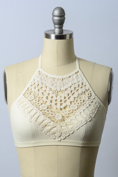 Emma Crochet Lace High Neck Bralette - Cream