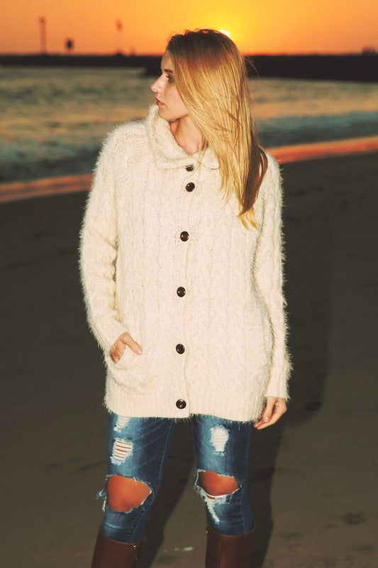 Cozy Thoughts Chunky Cardigan - Cream