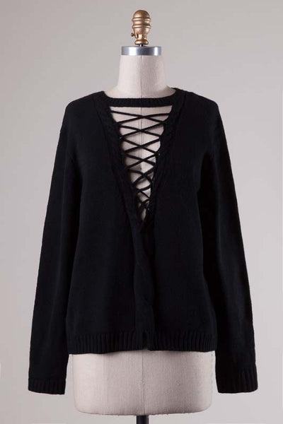 Lace Up Choker Sweater - Black