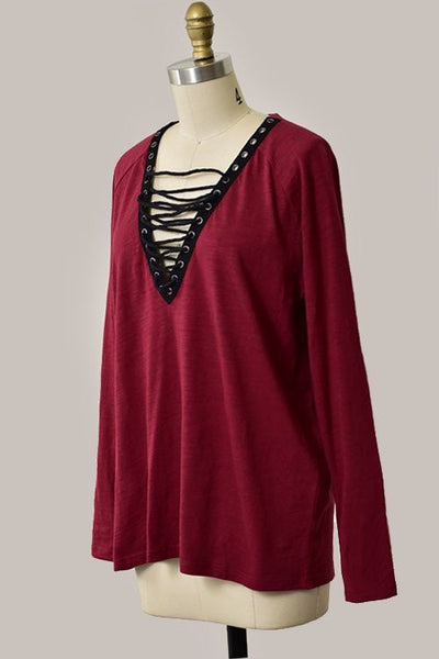 Behest Plunging V-Neck Lace Up Dress - Burgundy