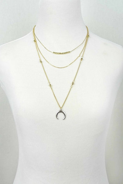 Crescent Layered Necklace - Gold