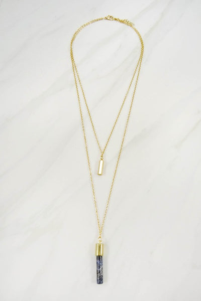 Divina Stone Layered Necklace - Rose