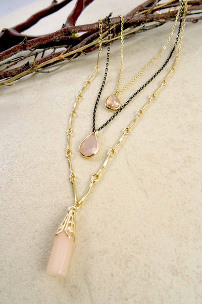 Aajaye Layered Stone Necklace - Rose