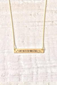 I Love You To The Moon And Back Necklace - Gold