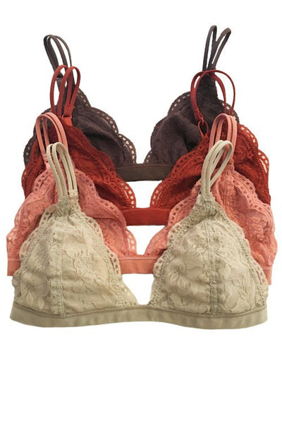 Unruly Lace Triangle Bralette - Peach
