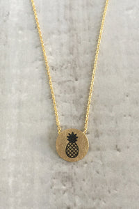 Circle Pineapple Necklace - Gold