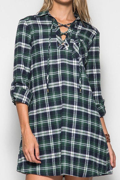 All In Plaid Lace Up Dress - Green