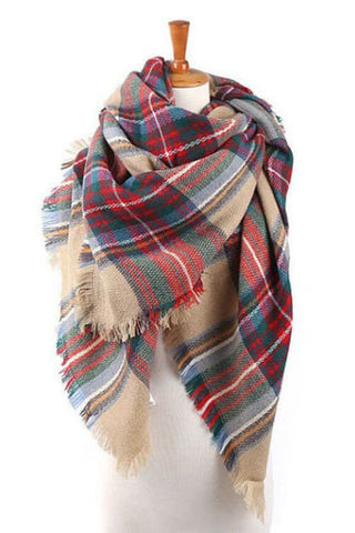 Cozied Up Blanket Scarf - Red / Green