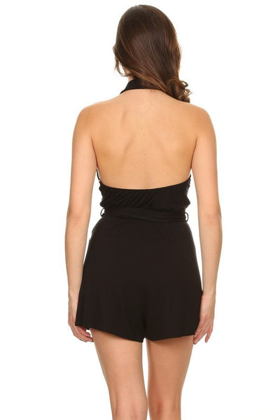 Night Crush V-Neck Romper - Black
