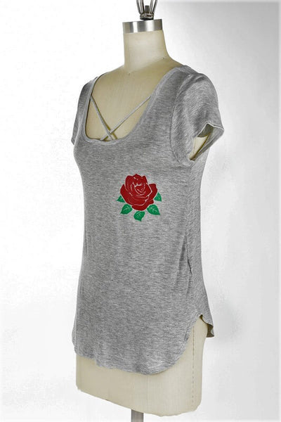 Rose Strappy Top - Gray