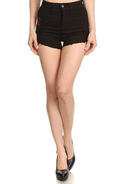 Rose Distressed Highwaist Shorts - Black