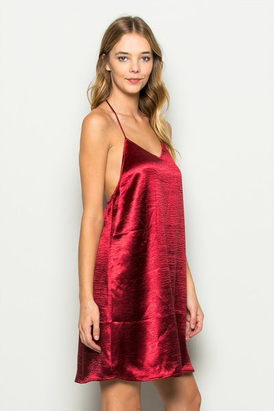 Isabella Mini Slip Dress - Burgundy