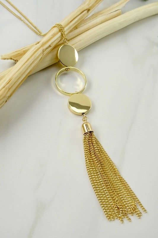 Cadance Tassel Long Necklace - Gold