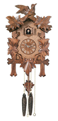 Traditional German Cuckoo Clock with Five Hand-carved Maple Leaves and One Bird - 14 Inches Tall