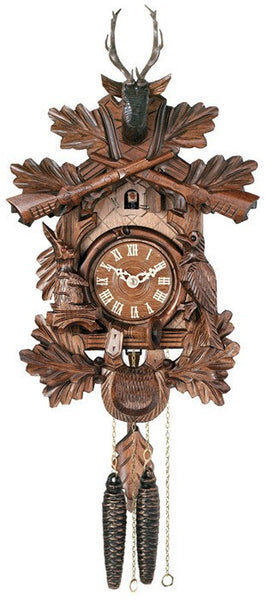One Day Hunter's Cuckoo Clock with Hand-carved Oak Leaves, Animals, Crossed Rifles, and Buck - 16