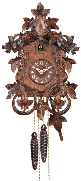One Day Hand Carved Cuckoo Clock with Intricate Leaves and Vines